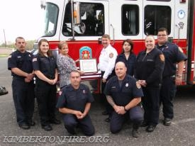 Left to Right: Acting Lieutenant Bryan Sims, Firefighter-EMT Megan Koren, Marie Werner (PALCS), Deputy Chief Chuck Fields, Fire Police Beth Stevens, Paramedic Lieutenant Heather Staley from West End Ambulance, Firefighter-EMT Ken Gordon, Firefighter-EMT Paul Jorgensen, Firefighter-EMT Keith Souder.