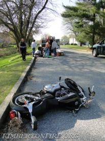 This photo shows how far the operator flew beyond the motorcycle.