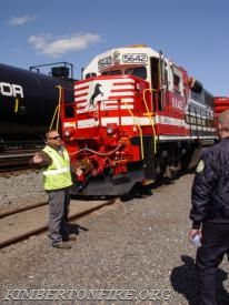 The Instructor starts at the front of the train and works his way to the rear, explaining the train and its cars.