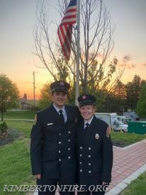 CJ poses with his girlfriend and firefighter Samantha Gable