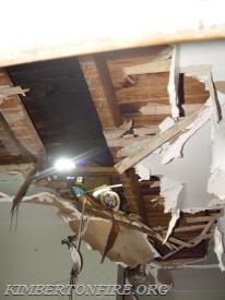 ceiling damage in bathroom
